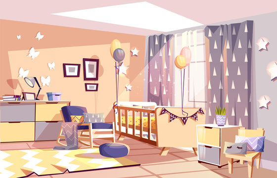Modern newborn kid or nursery room interior vector illustration of bedroom furniture in cozy Scandinavian style. Nurse rocking chair, carpet at baby bed with blanket, stars or butterflies and balloons