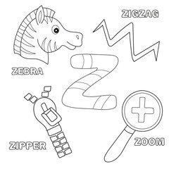 Alphabet Z - Worksheet Exercises for kids - Coloring book illustration