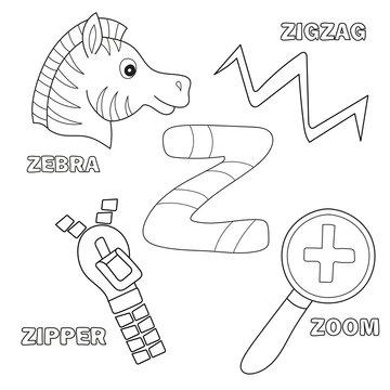 Alphabet Z - Worksheet Exercises for kids - Coloring book illustration