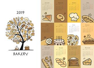 Bakery, calendar 2019 design