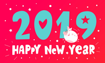 Cute flying funny character piggy. Happy New Year. Pig chinese symbol of the 2019 year. Greeting festive gift card. Vector illustration hand drawn.