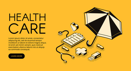 Healthcare medical vector illustration for clinic or hospital service. Doctor stethoscope, medicine pills and pharmacy cross in isometric black thin line design on yellow halftone background