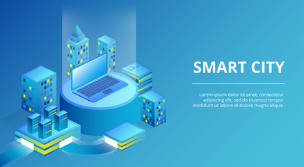 Smart city vector illustration of town infrastructure with modern buildings and laptop. Isometric innovation technology concept for residential houses and business offices on blue background