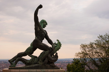 Bronze statue at Citadel Fortress - Budapest, Hungary
