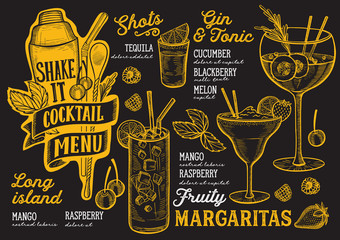 Cocktail drink menu template for restaurant with doodle hand-drawn graphic.