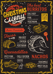 Christmas menu template for mexican restaurant.