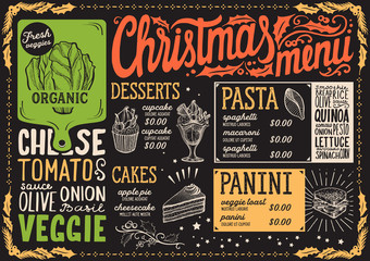 Christmas menu template for vegetarian restaurant.