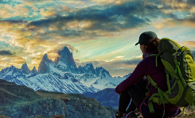 Hiker and Fitz Roy Mountain in Patagonia