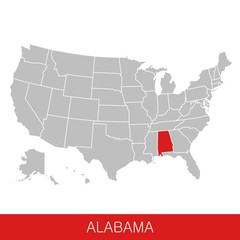 United States of America with the State of Alabama selected. Map of the USA vector illustration