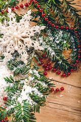 Christmas background, fir branches, snow, festive decor, snowflake