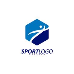 Sport symbol design, Fitness people icon vector logo, speed fitness, running, swimming, jumping logotype, hexagon people