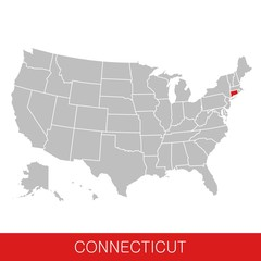 United States of America with the State of Connecticut selected. Map of the USA vector illustration