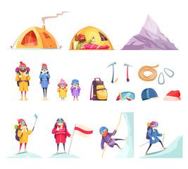 Mountaineering Cartoon Set