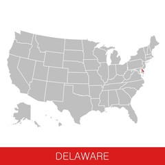 United States of America with the State of Delaware selected. Map of the USA vector illustration