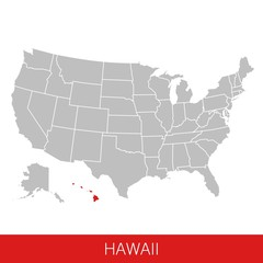 United States of America with the State of Hawaii selected. Map of the USA vector illustration
