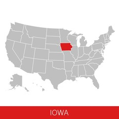 United States of America with the State of Iowa selected. Map of the USA vector illustration