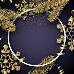 Christmas and New Year card with round frame, fir branches and golden shiny snowflakes.