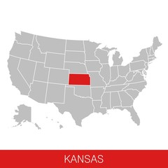 United States of America with the State of Kansas selected. Map of the USA vector illustration