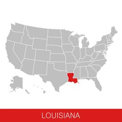 United States of America with the State of Louisiana selected. Map of the USA vector illustration