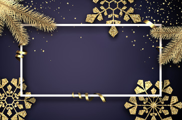 Christmas and New Year poster with frame, fir branches and golden shiny snowflakes.