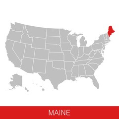 United States of America with the State of Maine selected. Map of the USA vector illustration