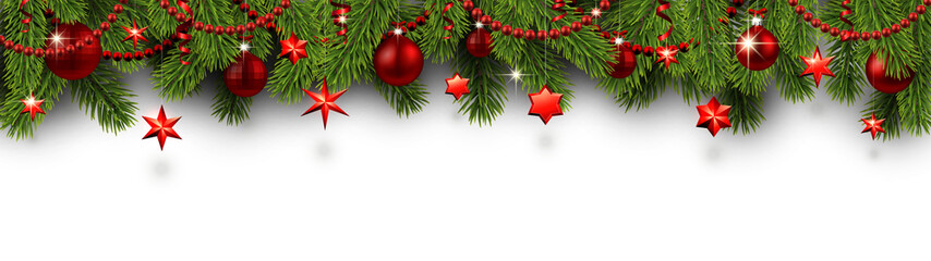Christmas and New Year banner with fir branches and red Christmas decorations.