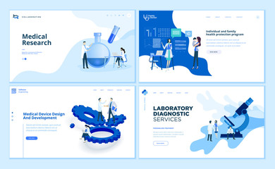 Web page design templates collection of medical research, laboratory diagnostic, medical device development, family health protection program. Vector illustration concepts for website development.