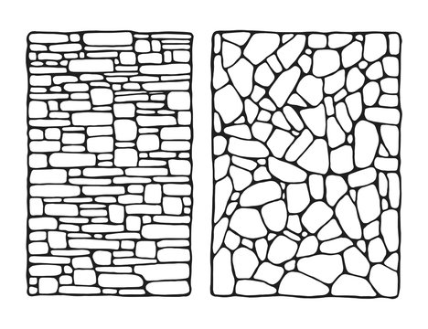 facing stone decorative wall vector sketch isolated