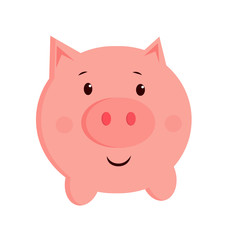 vector cute illustration of a pig. cartoon picture 2019