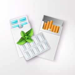 Realistic Chewing Gum And Cigarettes