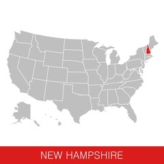 United States of America with the State of New Hampshire selected. Map of the USA vector illustration