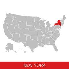 United States of America with the State of New York selected. Map of the USA vector illustration