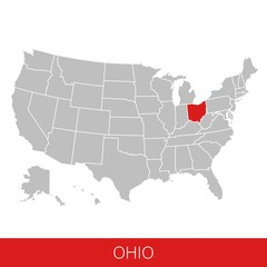 United States of America with the State of Ohio selected. Map of the USA vector illustration