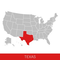 United States of America with the State of Texas selected. Map of the USA vector illustration