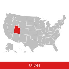 United States of America with the State of Utah selected. Map of the USA vector illustration