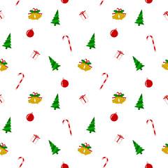 Seamless, Christmas motifs, white wrapping paper pattern.