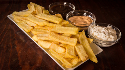 French fries_chips with three sauces