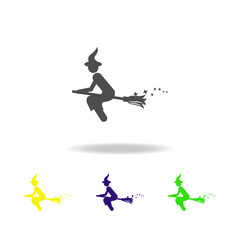 witch on a broomstick multicolored icon. Element of popular magic icon. Signs and symbols icon can be used for web, logo, mobile app, UI, UX