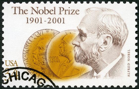 USA - 2001: shows Alfred Bernhard Nobel (1833-1896), and Obverse of Medals, Nobel Prize Fund Established