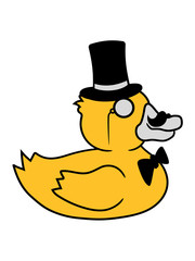 sir herr gentlemen zylinder hut monokel brille reich quietscheente gummiente badeente ente gans vogel baby kind klein süß niedlich comic cartoon clipart design