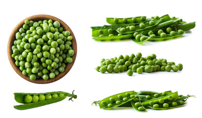 Set of green peas. Green peas isolated on a white background. Vegetables with copy space for text. Fresh green peas on a white background. Studio photo.