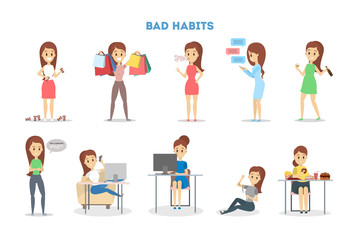 Woman with a bad habit set. Alcohol and coffee addiction