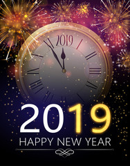 Happy New Year 2019 greeting card with clock and firework.