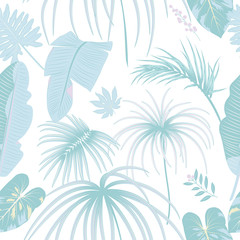 Vector tropical seamless pattern in trendy pastel colors.