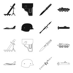 Vector design of weapon and gun logo. Collection of weapon and army stock vector illustration.