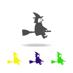 witch on a broomstick multicolored icon. Element of ghost elements illustration. Signs and symbols icon can be used for web, logo, mobile app, UI, UX