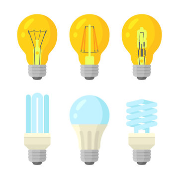 Light bulbs flat style set. Different kinds lamps with cold and warm glow. Isolated vector illustration on white background