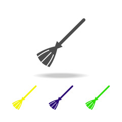 Broom multicolored icon. Element of ghost elements illustration. Signs and symbols icon can be used for web, logo, mobile app, UI, UX