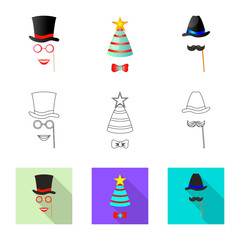 Vector design of party and birthday sign. Collection of party and celebration stock symbol for web.