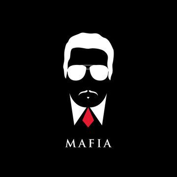 Italian Mafioso portrait. Man with mustache and sunglasses. Black and white illustration.